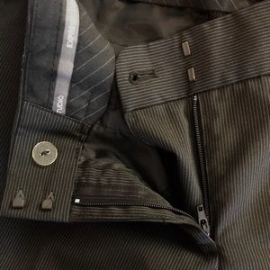 Subtly pinstriped gray business Express slacks